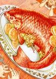 两例证的橙色鱼晚餐 图库摄影