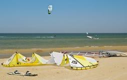 很多冲浪者和风筝海浪在海滩 库存图片