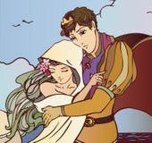 拥抱传染媒介的恋人年轻童话夫妇  免版税图库摄影