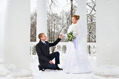 爱新娘的新郎声明 免版税库存图片