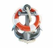 船锚和救生圈 免版税库存图片