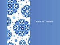 蓝色抽象圈子水平的无缝的样式 免版税库存照片