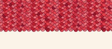 红色瓦水平的无缝的样式 库存照片