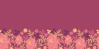 红色花和叶子水平的无缝的样式 库存照片