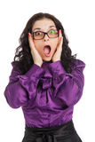 惊奇的深色的妇女佩带的衬衣、裙子和玻璃 免版税库存照片