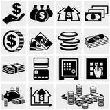 Διανυσματικά εικονίδια τραπεζικών εργασιών, χρημάτων και νομισμάτων καθορισμένα. Στοκ εικόνες με δικαίωμα ελεύθερης χρήσης