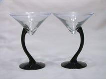 二重奏玻璃马蒂尼鸡尾酒 库存照片