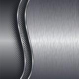 Почищенная щеткой алюминиевая предпосылка металла с границей Стоковое Изображение RF
