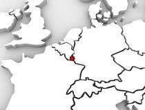 Λουξεμβούργιος τρισδιάστατος αφηρημένος χάρτης Ευρώπη Στοκ Εικόνες
