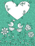 蓝色花卉卡片 库存图片
