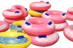 五颜六色的可膨胀的游泳圆环 免版税库存图片