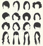 Установленный вектор: Силуэты стиля причёсок женщин Стоковые Фото