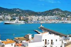 伊维萨港,在伊维萨岛,巴利阿里群岛,西班牙 免版税库存照片