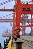 操作在厦门港口,福建,中国 库存照片