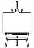 艺术家的在白色的画架三脚架 库存照片
