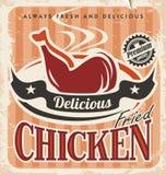 Винтажный дизайн плаката жареной курицы Стоковые Фотографии RF