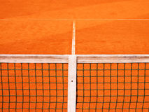 Теннисный корт с линией и сетью Стоковые Фотографии RF