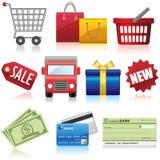 Значки покупок и дела Стоковое Изображение RF
