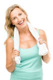 Здоровая зрелая тренировка женщины изолированная на белой предпосылке Стоковое фото RF