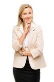 Ώριμη γυναίκα που σκέφτεται απομονωμένη στο άσπρο υπόβαθρο Στοκ φωτογραφία με δικαίωμα ελεύθερης χρήσης