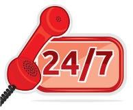 Весь день центр телефонного обслуживания работы с клиентом Стоковые Изображения