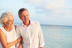 结婚在海滩仪式的资深夫妇 库存图片