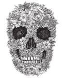 Κρανίο που γίνεται από τη διανυσματική απεικόνιση λουλουδιών Στοκ Εικόνα