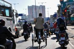 人力车在西贡,越南 库存照片