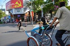 人力车在西贡,越南 免版税图库摄影