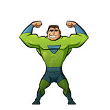 绿色衣服的特级英雄 库存图片