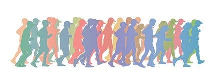 Μεγάλη ομάδα ανθρώπων που τρέχει τη ζωηρόχρωμη σκιαγραφία Στοκ εικόνα με δικαίωμα ελεύθερης χρήσης