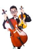 有小提琴的滑稽的人 库存图片
