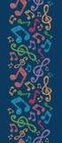 五颜六色的音符垂直的无缝的样式 免版税库存照片