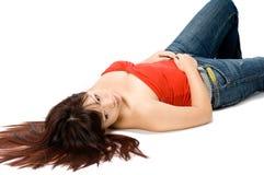 女孩躺下 免版税库存图片