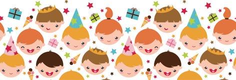 Дети на безшовном вечеринки по случаю дня рождения горизонтальное Стоковая Фотография