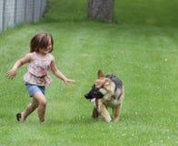 有德国牧羊犬狗小狗的女孩在公园 库存照片