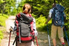 远足在森林里的旅游夫妇 免版税库存照片