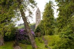 中世纪爱尔兰塔废墟 免版税图库摄影