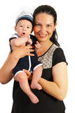 Младенец мамы изумленный удерживанием Стоковая Фотография