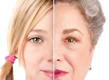 美丽的老化面孔眼睛 免版税库存图片