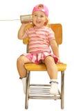 告诉逗人喜爱的爸爸女孩 免版税库存图片