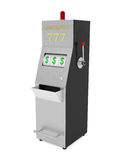 困境老虎机在白色隔绝的赌博娱乐场 免版税库存照片
