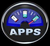 阿普斯汽油表测量在巧妙的电话的应用 库存照片