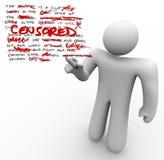 Λογοκριμένος - το άτομο εκδίδει τη ελευθερία λόγου λογοκρισίας κειμένων Στοκ Φωτογραφία
