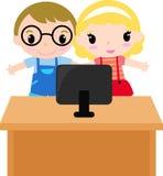 有动画片孩子的计算机 库存图片