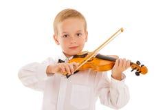 孩子和小提琴 免版税库存照片