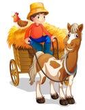 Фермер ехать тележка с цыпленком на его назад Стоковые Фото