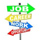 Οδικά σημάδια λέξεων ευκαιρίας εργασίας σταδιοδρομίας εργασίας Στοκ Εικόνα