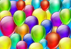 与颜色气球的背景 免版税图库摄影