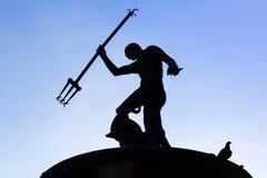 海王星的喷泉在格但斯克老镇  免版税库存照片